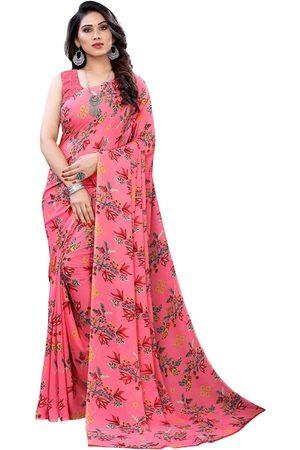 KALINI Women Pink & Grey Pure Georgette Floral Print Saree