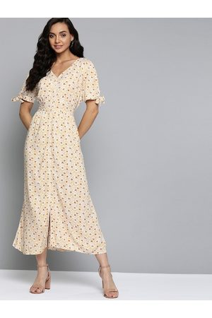 Mast & Harbour Off White & Mustard Yellow Floral Print A-Line Dress