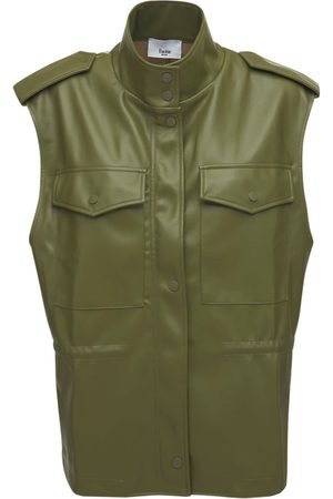 The Frankie Shop Ines Faux Leather Cargo Vest