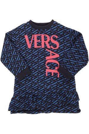 VERSACE Logo Print Cotton Dress
