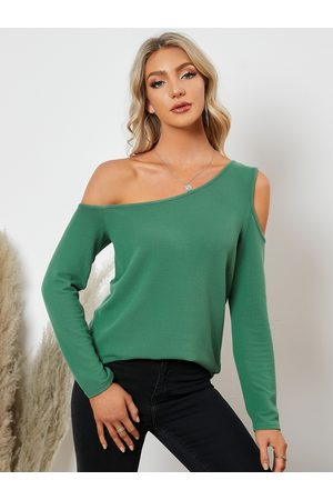 YOINS Cut Out Design One Shoulder Long Sleeves Tee