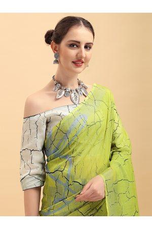 Sangria Neckties - Lime Green & Grey Tie and Dye Pure Linen Saree