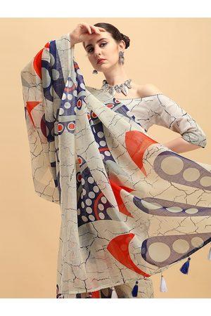 Sangria Beige & Blue Tie and Dye Pure Linen Saree