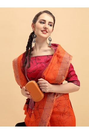 Sangria Orange Tie and Dye Pure Linen Saree