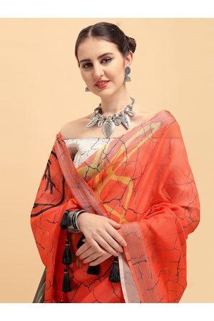 Sangria Orange & Black Tie and Dye Zari Pure Linen Saree