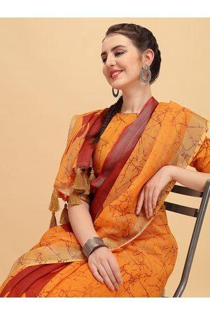 Sangria Mustard Orange & Red Tie and Dye Pure Linen Saree