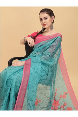 Sangria Blue & Pink Tie and Dye Pure Linen Saree