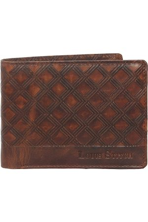 LOUIS STITCH Men Tan Textured Leather Two Fold Wallet with RFID