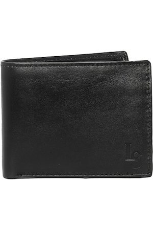 LOUIS STITCH Men Black Textured Leather Two Fold Wallet with RFID