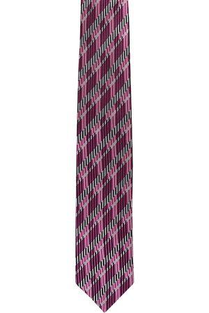 Alvaro Castagnino Men Purple & White Woven Design Broad Tie