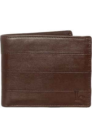 LOUIS STITCH Men Brown Textured Leather Two Fold Wallet with RFID