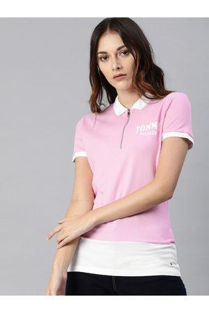 Tommy Hilfiger Women Lavender Colourblocked Polo Collar T-shirt