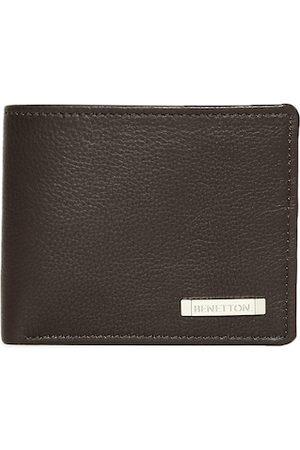 Benetton Men Brown Solid Two Fold Wallet
