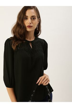 all about you Black Tie-Up Neck Regular Top