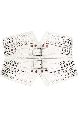 Alaïa Double Buckle Belt in Blanc Optique
