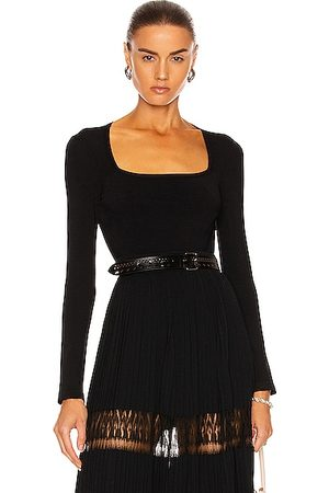 Alaïa Women Long Sleeve - Long Sleeve Bodysuit in Noir