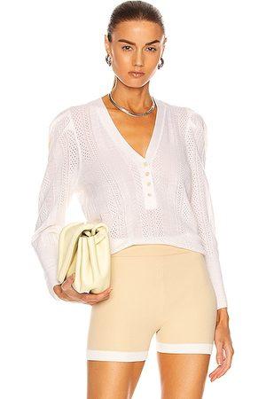 VERONICA BEARD Kirka Henley Pullover Sweater in Ivory