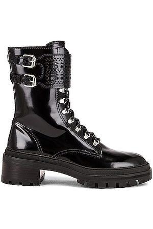 Alaïa Buckle Military Boots in Noir