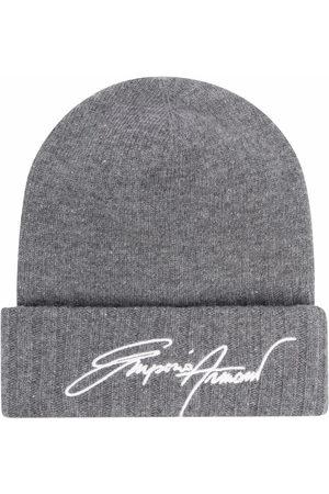 Emporio Armani Rib-knit embroidered beanie hat