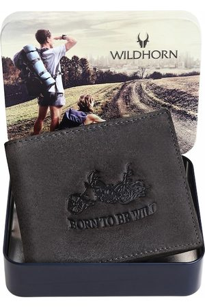 WildHorn Men Grey Leather Two Fold Wallet with RFID