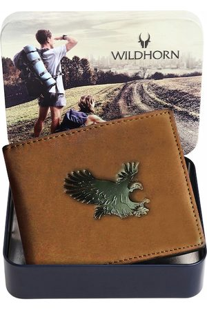 WildHorn Men Tan Graphic Printed Pure Leather Two-Fold Wallet