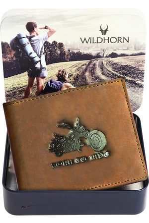 WildHorn Men Tan Graphic Printed Leather Two Fold Wallet with RFID