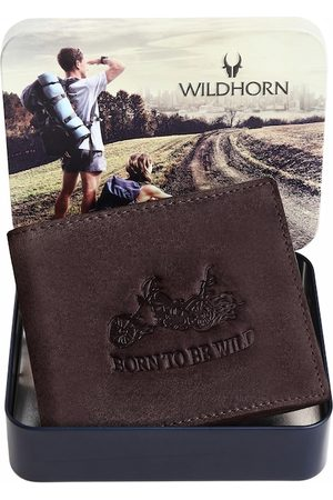 WildHorn Men Coffee Brown Leather Two Fold Wallet with RFID
