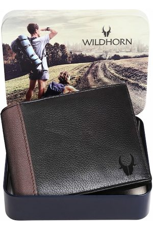WildHorn Men Black & Brown Solid Pure Leather Two-Fold Wallet