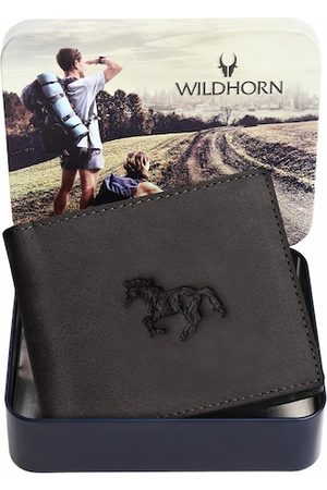 WildHorn Men Grey Graphic Printed Leather Two Fold Wallet with RFID