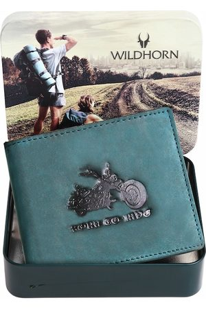 WildHorn Men Blue & Black Graphic Printed Leather Two Fold Wallet with RFID