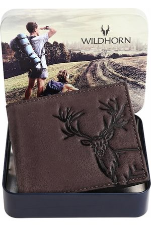 WildHorn Men Coffee Brown Graphic Printed Pure Leather Two-Fold Wallet