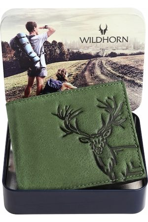 WildHorn Men RFID Green Graphic Printed Leather Two Fold Wallet
