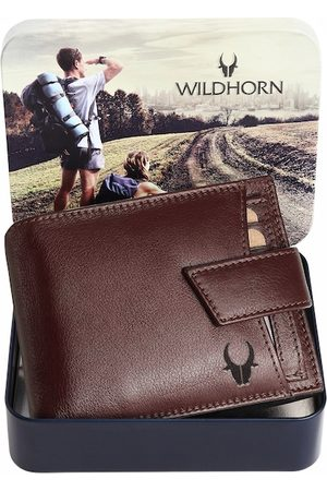 WildHorn Men Maroon Solid Leather Two Fold Wallet with RFID
