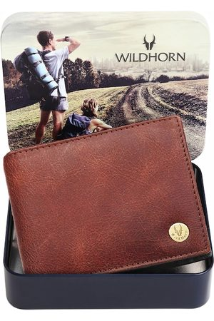 WildHorn Men Brown Textured Leather Two Fold Wallet with RFID