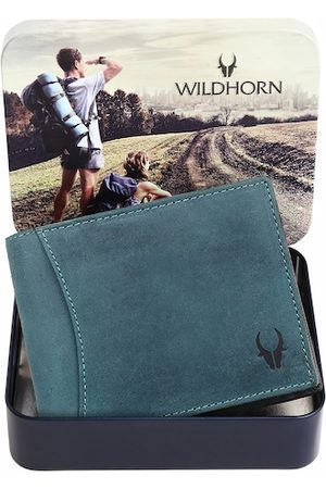 WildHorn Men Blue Textured RFID Leather Two Fold Wallet