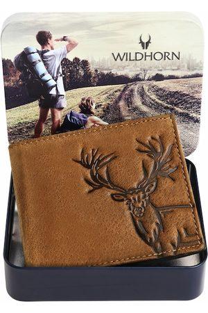 WildHorn Men Tan Textured RFID Leather Two Fold Wallet