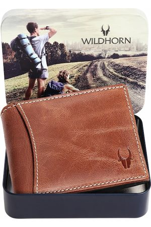 WildHorn Men Tan Solid Leather Two Fold Wallet with RFID