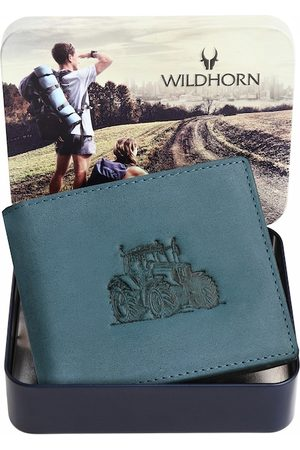 WildHorn Men Teal Graphic Printed Leather Two Fold Wallet with RFID
