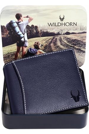 WildHorn Men Blue Textured Leather Two Fold Wallet with RFID
