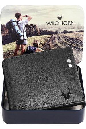 WildHorn Men Black Solid Pure Leather Two-Fold Wallet