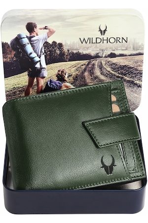 WildHorn Men Olive Green Solid Pure Leather Two-Fold Wallet