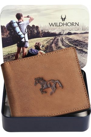 WildHorn Men Tan Design RFID Leather Two Fold Wallet