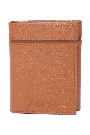 Mast & Harbour Men Tan Brown Solid Leather Three Fold Wallet
