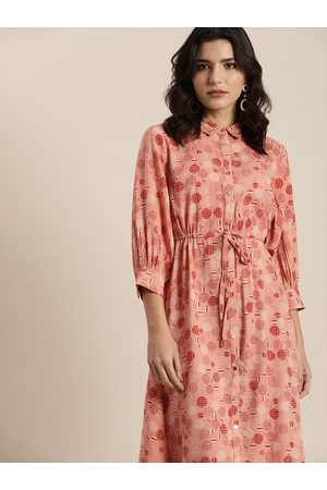 all about you Peach-Coloured A-Line Dress with Tie-Ups
