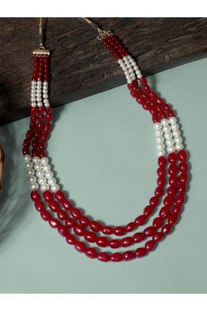 karatcart Men Red & White Layered Necklace