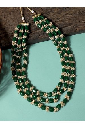 karatcart Men Gold-Toned & Green Gold-Plated Layered Necklace