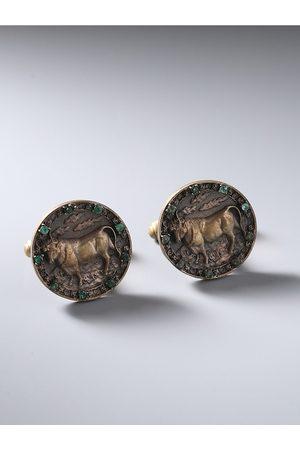 COSA NOSTRAA Gunmetal-Toned Taurus Zodiac Sign Cufflinks