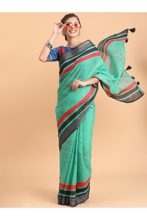 Sangria Sea Green & Red Tie and Dye Pure Linen Saree