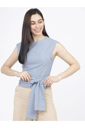 Tokyo Talkies Women Solid Blue Waist Tie-Ups Sleeveless Top