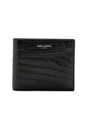 Saint Laurent Matte Croc Billfold Wallet in